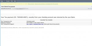 Fraudulent IRS Email Message